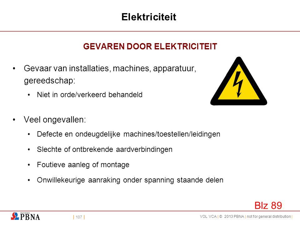 | 107 | VOL VCA | © 2013 PBNA | not for general distribution | Elektriciteit GEVAREN DOOR ELEKTRICITEIT •Gevaar van installaties, machines, apparatuur