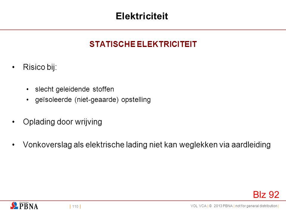 | 110 | VOL VCA | © 2013 PBNA | not for general distribution | Elektriciteit STATISCHE ELEKTRICITEIT •Risico bij: •slecht geleidende stoffen •geïsolee
