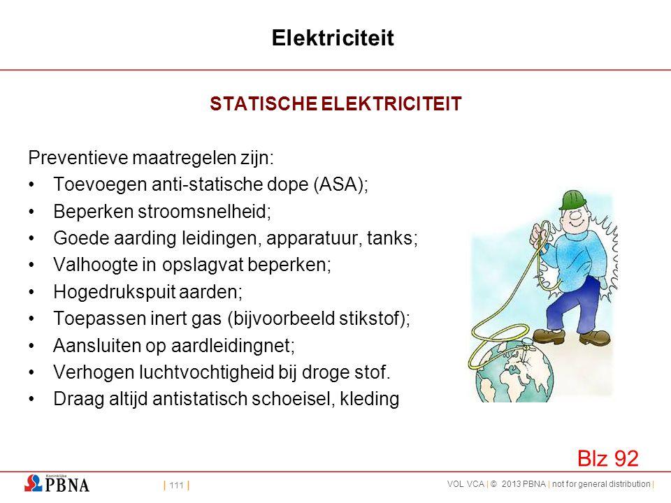 | 111 | VOL VCA | © 2013 PBNA | not for general distribution | Elektriciteit STATISCHE ELEKTRICITEIT Preventieve maatregelen zijn: •Toevoegen anti-sta