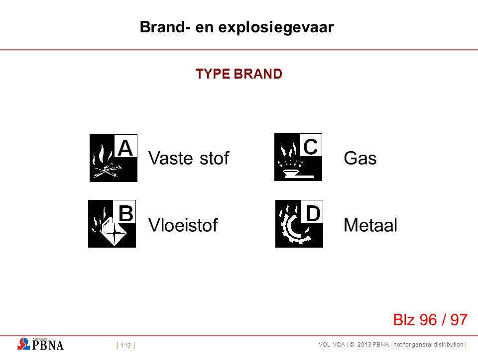 | 113 | VOL VCA | © 2013 PBNA | not for general distribution | Brand- en explosiegevaar TYPE BRAND Vaste stof Vloeistof Gas Metaal Blz 96 / 97