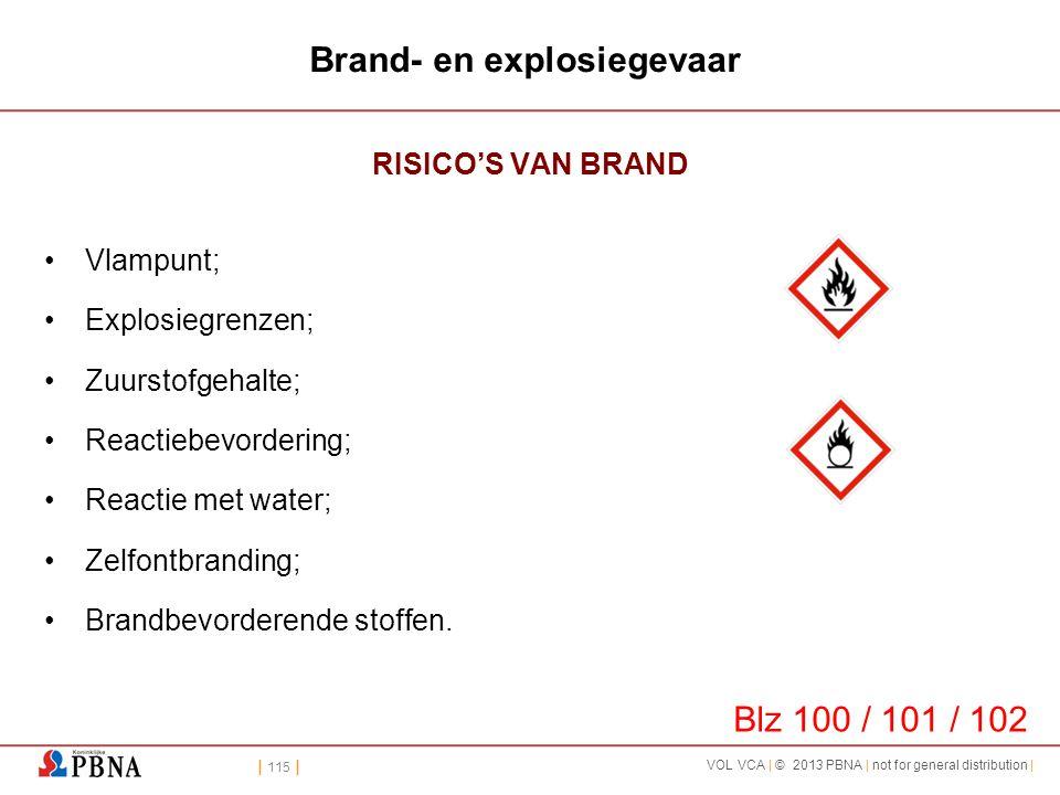 | 115 | VOL VCA | © 2013 PBNA | not for general distribution | Brand- en explosiegevaar RISICO'S VAN BRAND •Vlampunt; •Explosiegrenzen; •Zuurstofgehal