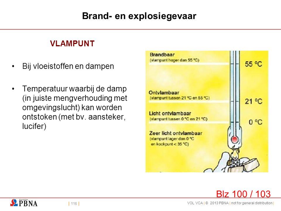 | 116 | VOL VCA | © 2013 PBNA | not for general distribution | Brand- en explosiegevaar VLAMPUNT •Bij vloeistoffen en dampen •Temperatuur waarbij de d