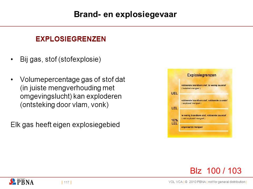 | 117 | VOL VCA | © 2013 PBNA | not for general distribution | Brand- en explosiegevaar EXPLOSIEGRENZEN •Bij gas, stof (stofexplosie) •Volumepercentag