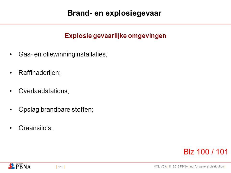 | 118 | VOL VCA | © 2013 PBNA | not for general distribution | Brand- en explosiegevaar Explosie gevaarlijke omgevingen •Gas- en oliewinninginstallati