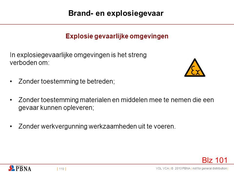 | 119 | VOL VCA | © 2013 PBNA | not for general distribution | Brand- en explosiegevaar Explosie gevaarlijke omgevingen In explosiegevaarlijke omgevin