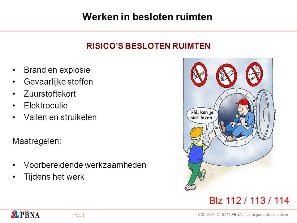 | 125 | VOL VCA | © 2013 PBNA | not for general distribution | Werken in besloten ruimten RISICO'S BESLOTEN RUIMTEN •Brand en explosie •Gevaarlijke st