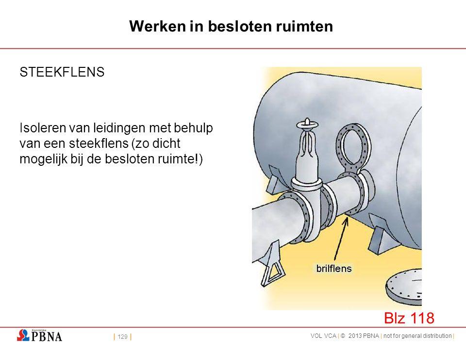 | 129 | VOL VCA | © 2013 PBNA | not for general distribution | Werken in besloten ruimten STEEKFLENS Isoleren van leidingen met behulp van een steekfl