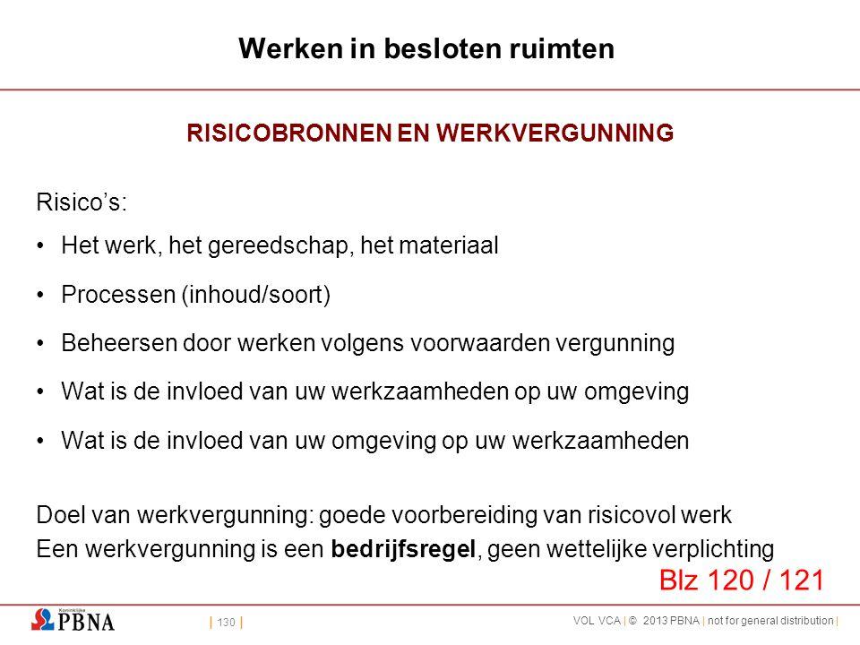 | 130 | VOL VCA | © 2013 PBNA | not for general distribution | Werken in besloten ruimten RISICOBRONNEN EN WERKVERGUNNING Risico's: •Het werk, het ger