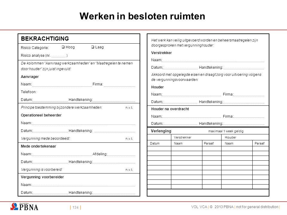 | 134 | VOL VCA | © 2013 PBNA | not for general distribution | Werken in besloten ruimten BEKRACHTIGING Risico Categorie: Risico analyse (nr. ) De kol