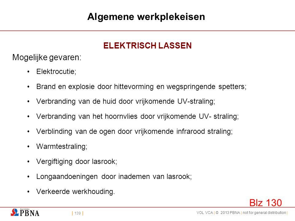 | 139 | VOL VCA | © 2013 PBNA | not for general distribution | Algemene werkplekeisen ELEKTRISCH LASSEN Mogelijke gevaren: •Elektrocutie; •Brand en ex