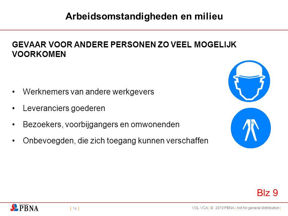 | 14 | VOL VCA | © 2013 PBNA | not for general distribution | Arbeidsomstandigheden en milieu GEVAAR VOOR ANDERE PERSONEN ZO VEEL MOGELIJK VOORKOMEN •