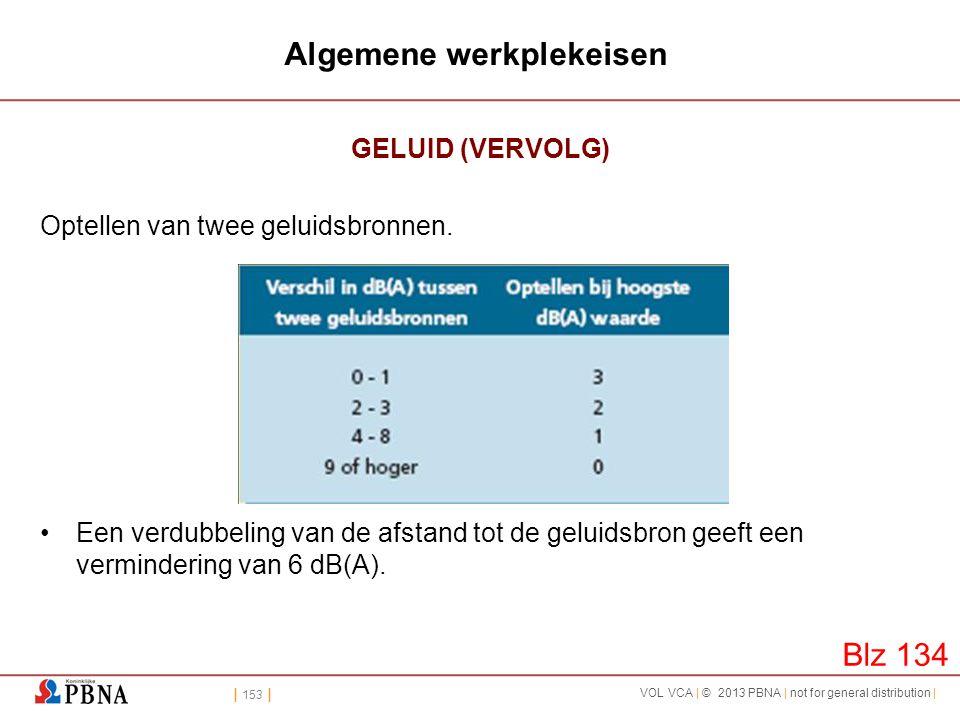 | 153 | VOL VCA | © 2013 PBNA | not for general distribution | Algemene werkplekeisen GELUID (VERVOLG) Optellen van twee geluidsbronnen. •Een verdubbe
