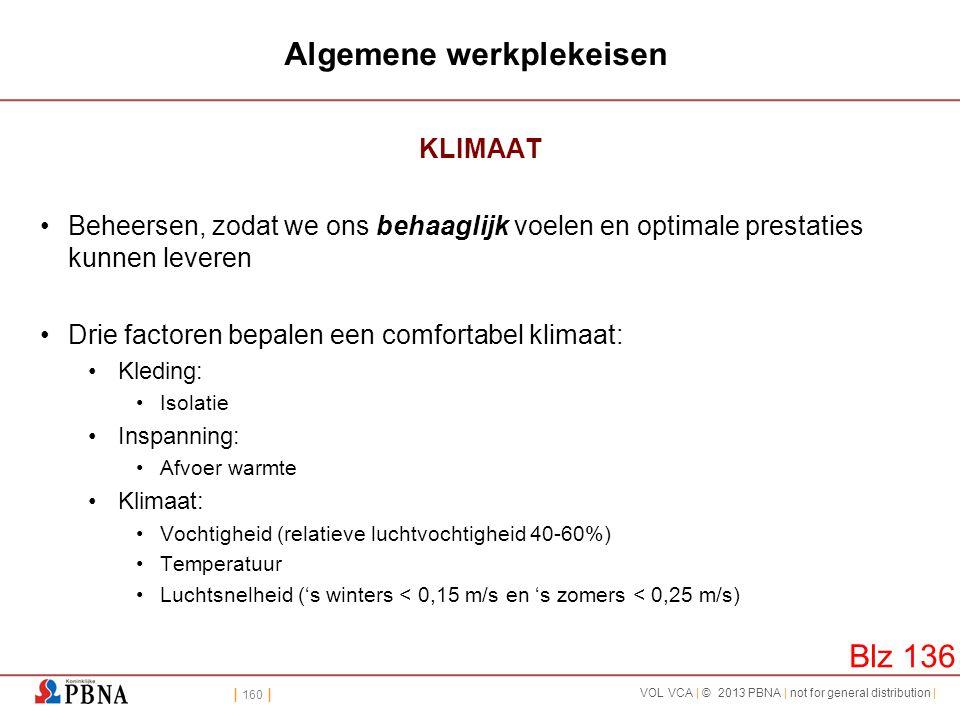 | 160 | VOL VCA | © 2013 PBNA | not for general distribution | Algemene werkplekeisen KLIMAAT •Beheersen, zodat we ons behaaglijk voelen en optimale p