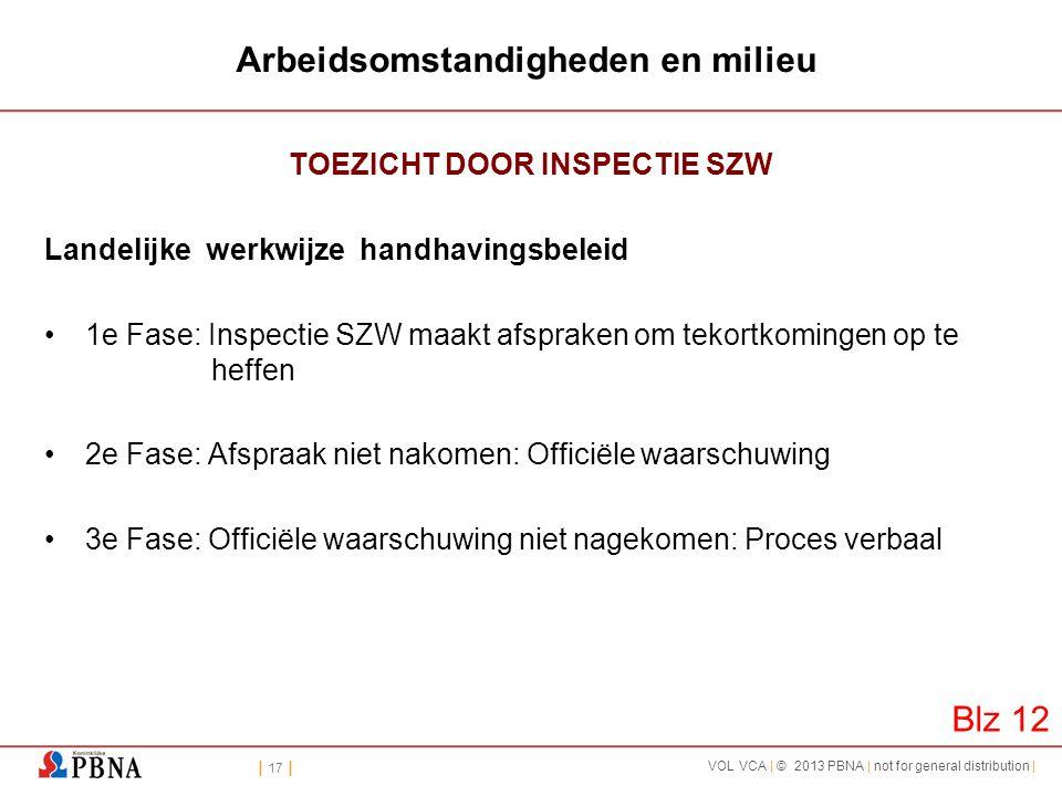 | 17 | VOL VCA | © 2013 PBNA | not for general distribution | Arbeidsomstandigheden en milieu TOEZICHT DOOR INSPECTIE SZW Landelijke werkwijze handhav