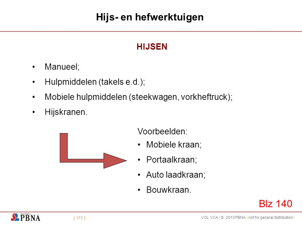 | 173 | VOL VCA | © 2013 PBNA | not for general distribution | Hijs- en hefwerktuigen HIJSEN •Manueel; •Hulpmiddelen (takels e.d.); •Mobiele hulpmidde