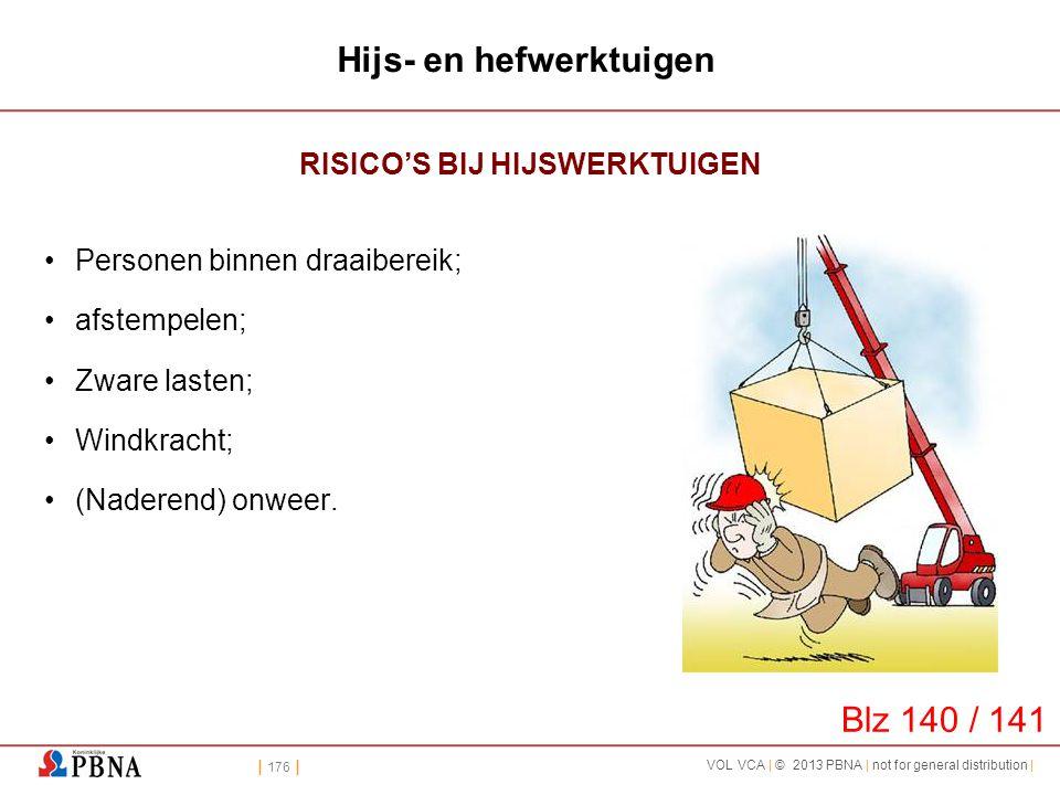 | 176 | VOL VCA | © 2013 PBNA | not for general distribution | Hijs- en hefwerktuigen RISICO'S BIJ HIJSWERKTUIGEN •Personen binnen draaibereik; •afste