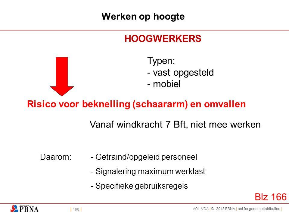 | 190 | VOL VCA | © 2013 PBNA | not for general distribution | Werken op hoogte HOOGWERKERS Typen: - vast opgesteld - mobiel Risico voor beknelling (s