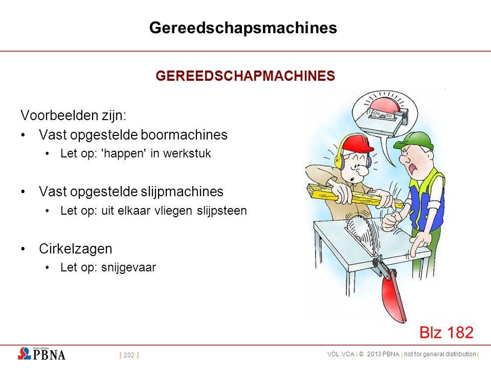 | 202 | VOL VCA | © 2013 PBNA | not for general distribution | Gereedschapsmachines GEREEDSCHAPMACHINES Voorbeelden zijn: •Vast opgestelde boormachine