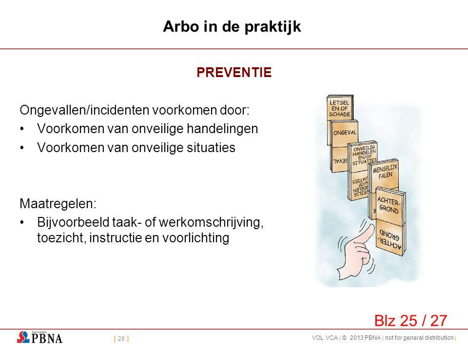| 28 | VOL VCA | © 2013 PBNA | not for general distribution | Arbo in de praktijk PREVENTIE Ongevallen/incidenten voorkomen door: •Voorkomen van onvei