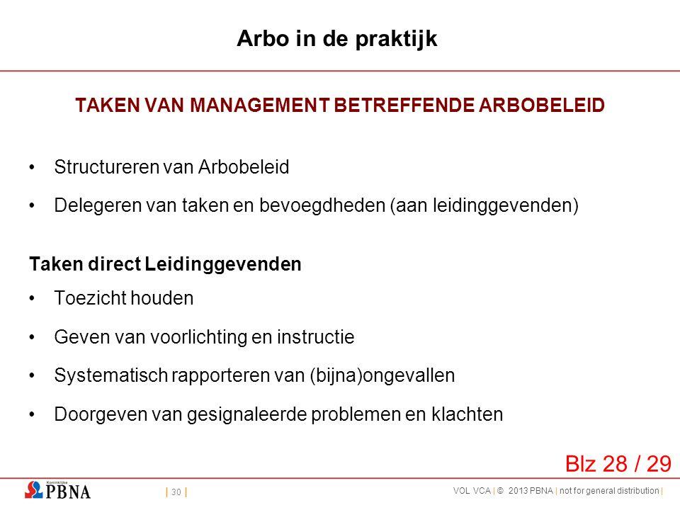 | 30 | VOL VCA | © 2013 PBNA | not for general distribution | Arbo in de praktijk TAKEN VAN MANAGEMENT BETREFFENDE ARBOBELEID •Structureren van Arbobe