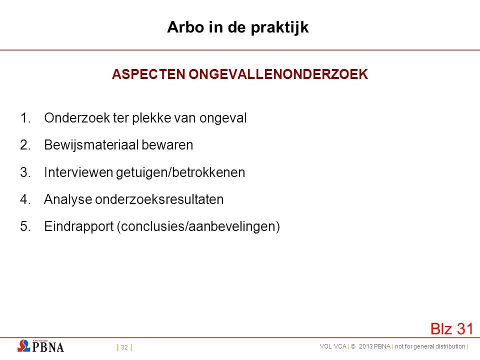 | 32 | VOL VCA | © 2013 PBNA | not for general distribution | Arbo in de praktijk ASPECTEN ONGEVALLENONDERZOEK 1.Onderzoek ter plekke van ongeval 2.Be