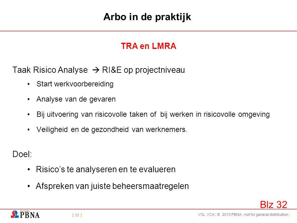 | 35 | VOL VCA | © 2013 PBNA | not for general distribution | Arbo in de praktijk TRA en LMRA Taak Risico Analyse  RI&E op projectniveau •Start werkv