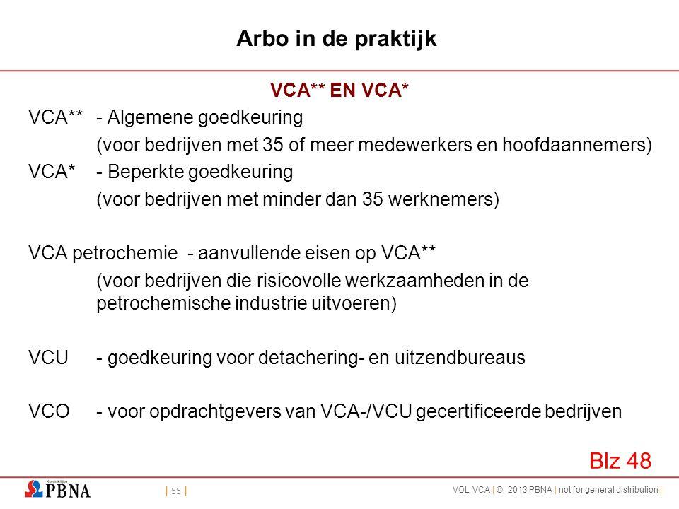 | 55 | VOL VCA | © 2013 PBNA | not for general distribution | Arbo in de praktijk VCA** EN VCA* VCA**- Algemene goedkeuring (voor bedrijven met 35 of