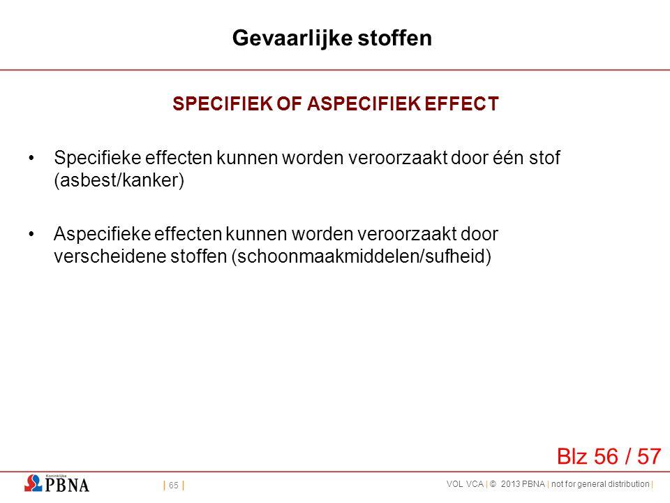 | 65 | VOL VCA | © 2013 PBNA | not for general distribution | Gevaarlijke stoffen SPECIFIEK OF ASPECIFIEK EFFECT •Specifieke effecten kunnen worden ve