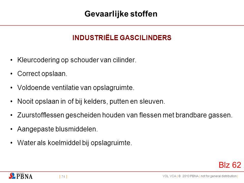 | 74 | VOL VCA | © 2013 PBNA | not for general distribution | Gevaarlijke stoffen INDUSTRIËLE GASCILINDERS •Kleurcodering op schouder van cilinder. •C
