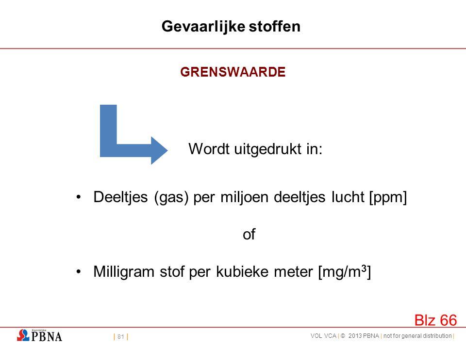 | 81 | VOL VCA | © 2013 PBNA | not for general distribution | Gevaarlijke stoffen GRENSWAARDE Wordt uitgedrukt in: •Deeltjes (gas) per miljoen deeltje