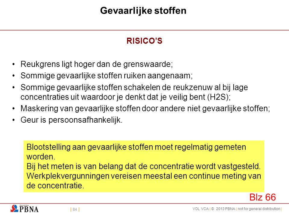 | 84 | VOL VCA | © 2013 PBNA | not for general distribution | Gevaarlijke stoffen RISICO'S •Reukgrens ligt hoger dan de grenswaarde; •Sommige gevaarli