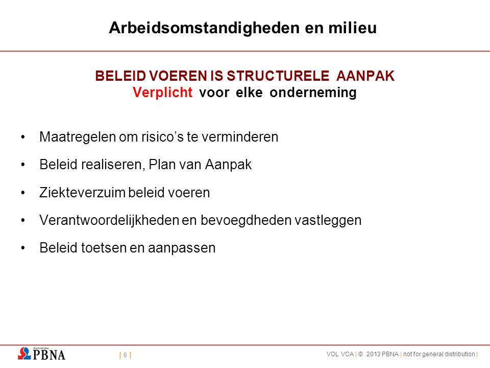 | 9 || 9 | VOL VCA | © 2013 PBNA | not for general distribution | Arbeidsomstandigheden en milieu BELEID VOEREN IS STRUCTURELE AANPAK Verplicht voor e