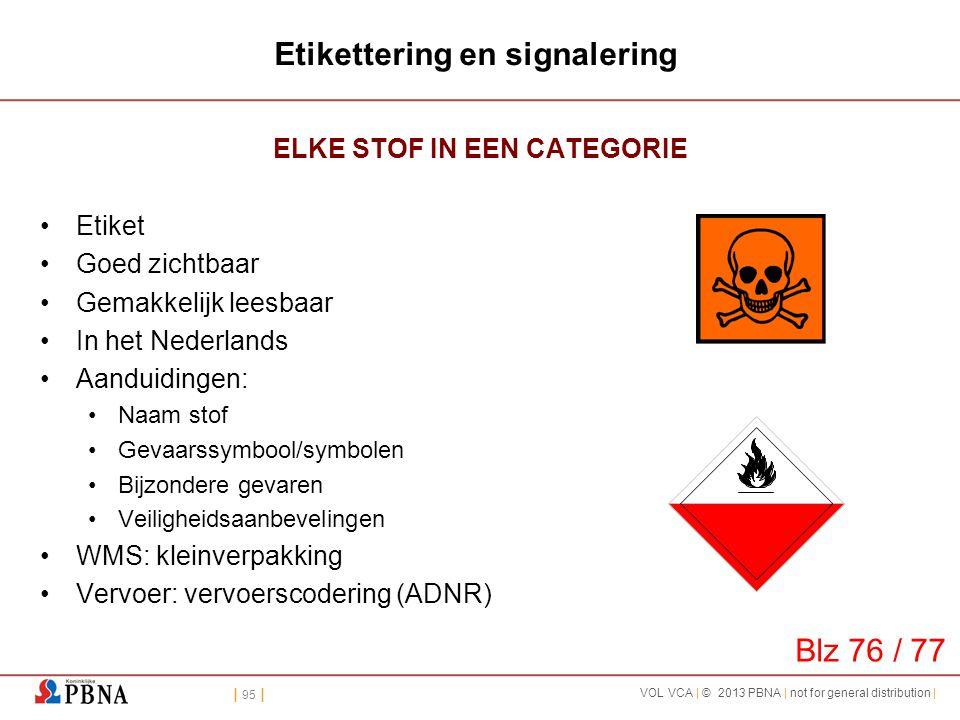| 95 | VOL VCA | © 2013 PBNA | not for general distribution | Etikettering en signalering ELKE STOF IN EEN CATEGORIE •Etiket •Goed zichtbaar •Gemakkel