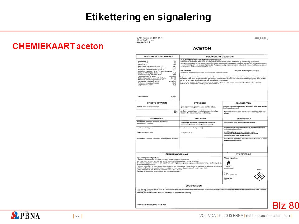 | 99 | VOL VCA | © 2013 PBNA | not for general distribution | Etikettering en signalering CHEMIEKAART aceton Blz 80