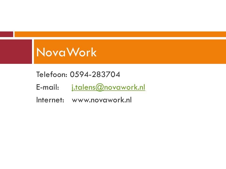 Telefoon: 0594-283704 E-mail: j.talens@novawork.nlj.talens@novawork.nl Internet: www.novawork.nl NovaWork