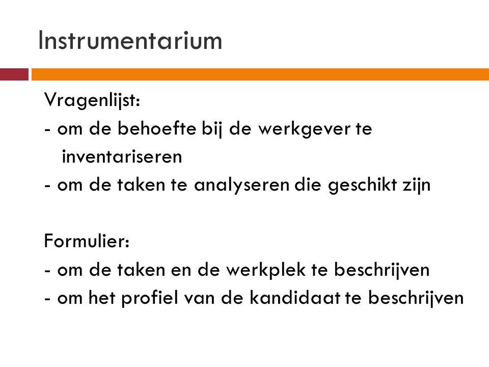 Instrumentarium Vragenlijst: - om de behoefte bij de werkgever te inventariseren - om de taken te analyseren die geschikt zijn Formulier: - om de take