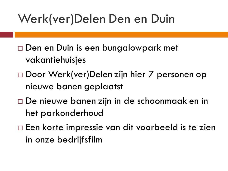 Werk(ver)Delen Den en Duin  Den en Duin is een bungalowpark met vakantiehuisjes  Door Werk(ver)Delen zijn hier 7 personen op nieuwe banen geplaatst