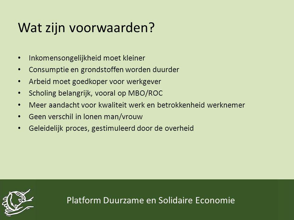 Wat zijn voorwaarden? • Inkomensongelijkheid moet kleiner • Consumptie en grondstoffen worden duurder • Arbeid moet goedkoper voor werkgever • Scholin