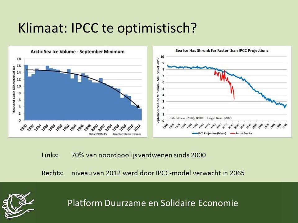 Klimaat: IPCC te optimistisch? Platform Duurzame en Solidaire Economie Links: 70% van noordpoolijs verdwenen sinds 2000 Rechts: niveau van 2012 werd d