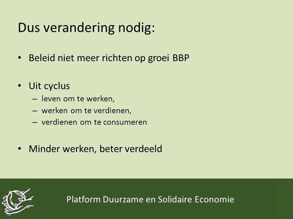 Dus verandering nodig: • Beleid niet meer richten op groei BBP • Uit cyclus – leven om te werken, – werken om te verdienen, – verdienen om te consumeren • Minder werken, beter verdeeld Platform Duurzame en Solidaire Economie