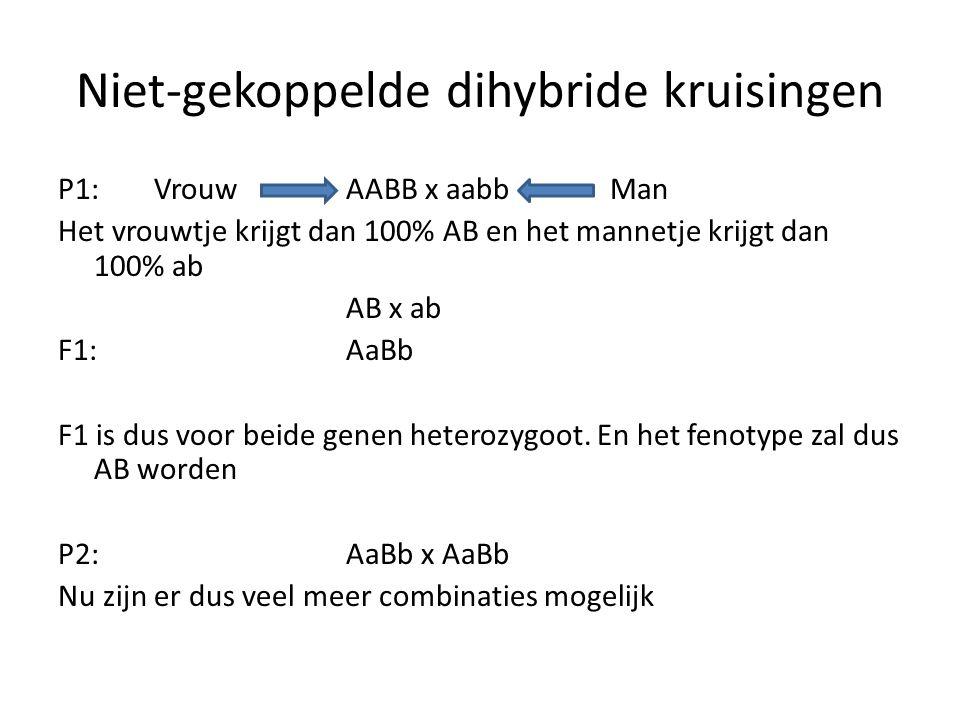 Niet-gekoppelde dihybride kruisingen P1:Vrouw AABB x aabb Man Het vrouwtje krijgt dan 100% AB en het mannetje krijgt dan 100% ab AB x ab F1:AaBb F1 is