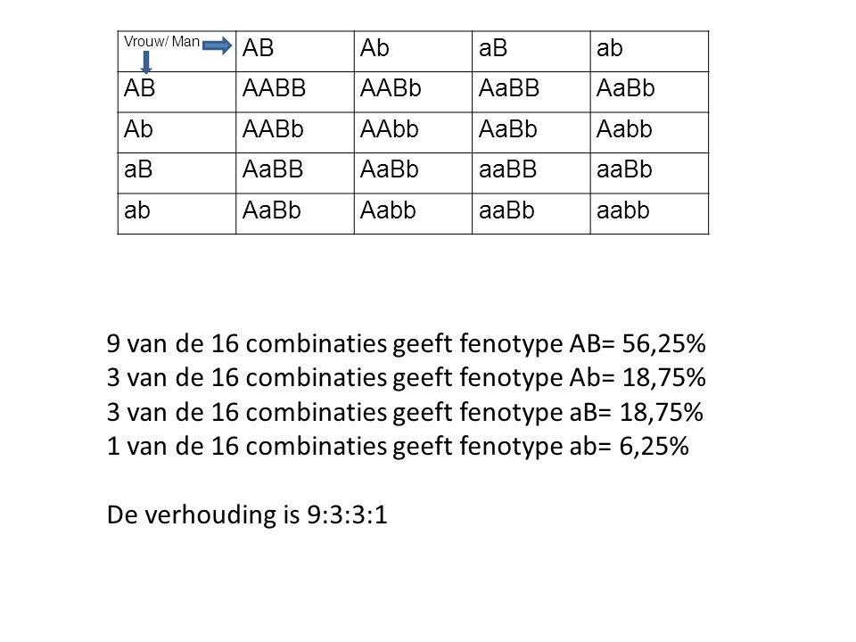 Vrouw/ Man ABAbaBab ABAABBAABbAaBBAaBb AbAABbAAbbAaBbAabb aBAaBBAaBbaaBBaaBb abAaBbAabbaaBbaabb 9 van de 16 combinaties geeft fenotype AB= 56,25% 3 va
