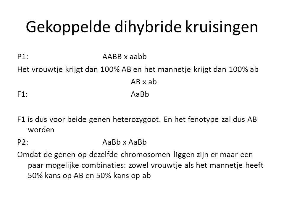 Gekoppelde dihybride kruisingen P1:AABB x aabb Het vrouwtje krijgt dan 100% AB en het mannetje krijgt dan 100% ab AB x ab F1:AaBb F1 is dus voor beide
