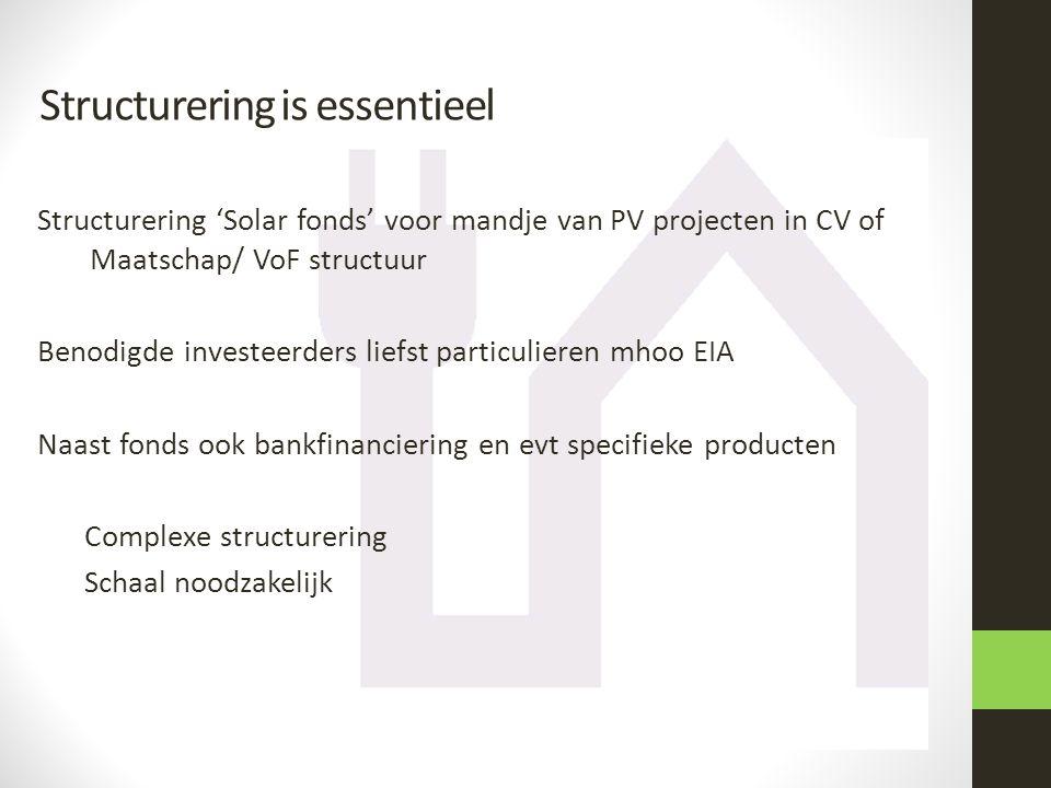 Structurering 'Solar fonds' voor mandje van PV projecten in CV of Maatschap/ VoF structuur Benodigde investeerders liefst particulieren mhoo EIA Naast fonds ook bankfinanciering en evt specifieke producten Complexe structurering Schaal noodzakelijk Structurering is essentieel