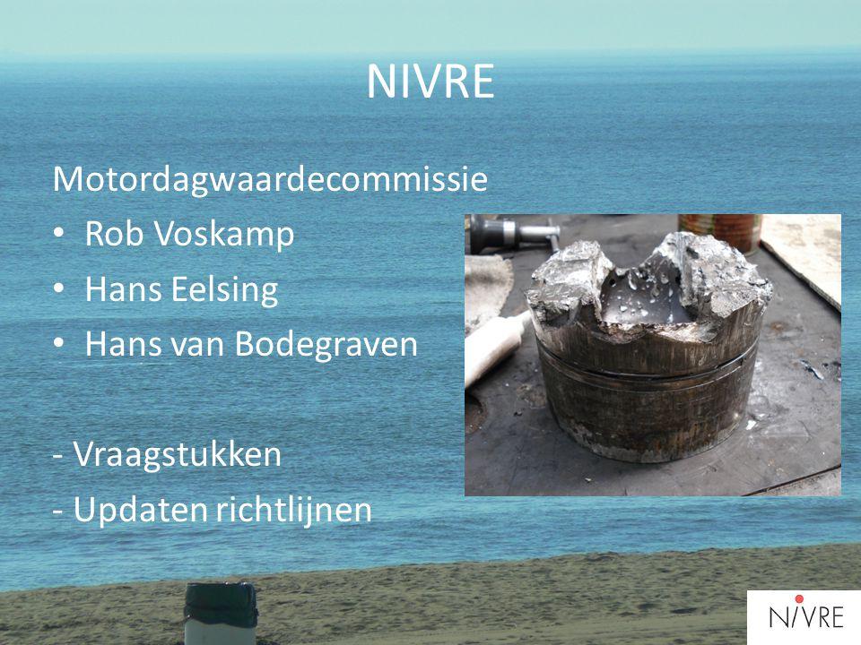 NIVRE Motordagwaardecommissie • Rob Voskamp • Hans Eelsing • Hans van Bodegraven - Vraagstukken - Updaten richtlijnen