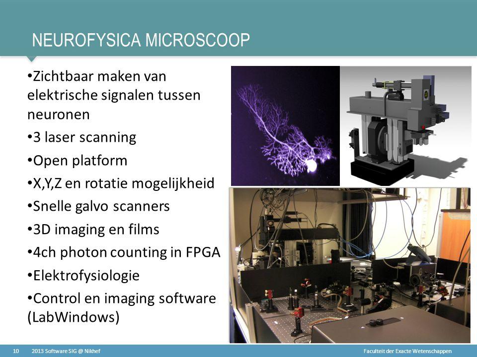 Faculteit der Exacte Wetenschappen NEUROFYSICA MICROSCOOP • Zichtbaar maken van elektrische signalen tussen neuronen • 3 laser scanning • Open platfor