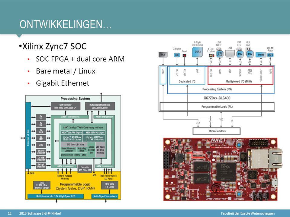 Faculteit der Exacte Wetenschappen ONTWIKKELINGEN… • Xilinx Zync7 SOC • SOC FPGA + dual core ARM • Bare metal / Linux • Gigabit Ethernet 122013 Softwa