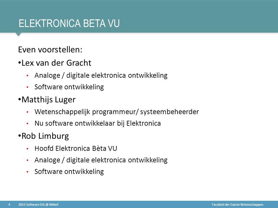 Faculteit der Exacte Wetenschappen ELEKTRONICA BETA VU Even voorstellen: • Lex van der Gracht • Analoge / digitale elektronica ontwikkeling • Software