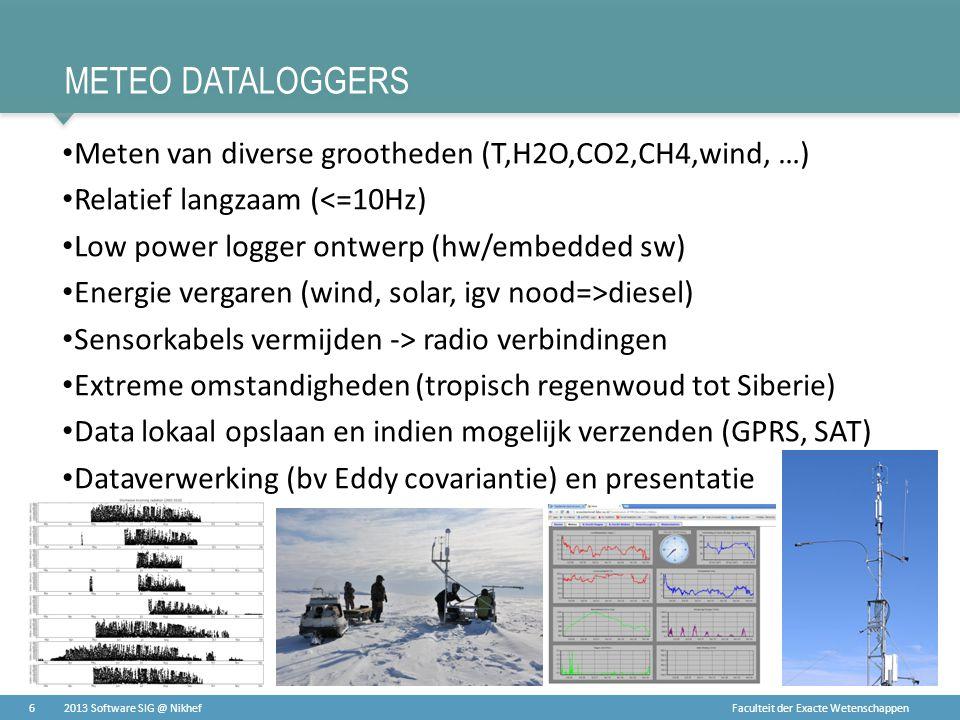 Faculteit der Exacte Wetenschappen METEO DATALOGGERS • Meten van diverse grootheden (T,H2O,CO2,CH4,wind, …) • Relatief langzaam (<=10Hz) • Low power l