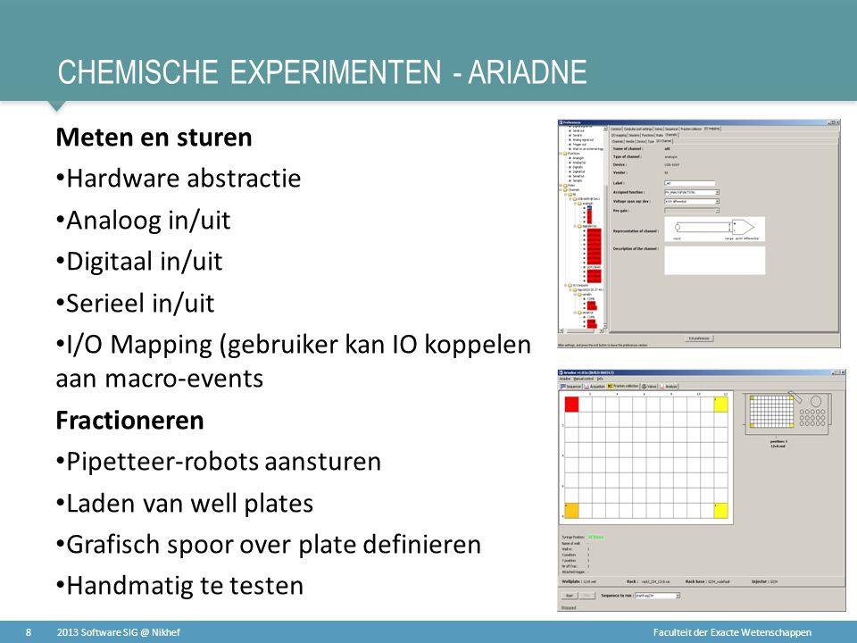 Faculteit der Exacte Wetenschappen CHEMISCHE EXPERIMENTEN - ARIADNE Meten en sturen • Hardware abstractie • Analoog in/uit • Digitaal in/uit • Serieel